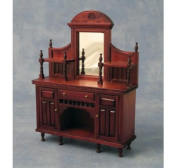 DF76161 Mahogany Coloured Sideboard with Mirror  1:12th Scale